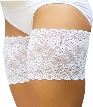 Bandelettes, elastische Oberschenkelbänder, Verhindern Reibung am Oberschenkel (E: (73 - 76 cm / 29'- 30'), Weiß)