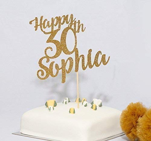 Personalised name and Age birthday cake topper. Happy Birthday cake topper. 30th, 40th, 50th cake topper. Customized any age and name