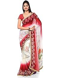 [Sponsored]Craftsvilla Women's Georgette Printed White & Red Saree With Unstitched Blouse Piece
