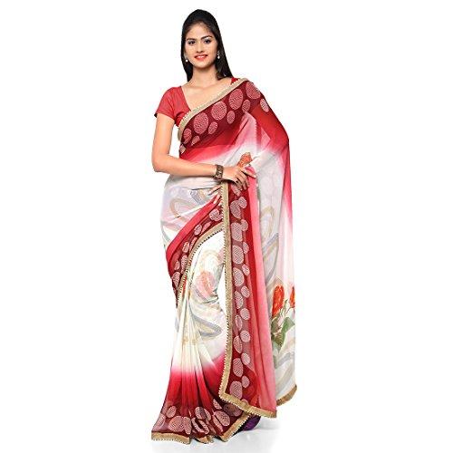 Craftsvilla Women's Georgette Printed White & Red Saree with Unstitched Blouse piece