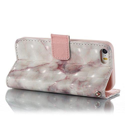 Marmor Stein Grain Texure Pattern PU Ledertasche Cover, Retro Bookstyle Flip Stand Case mit Magnetverschluss & Card Slots & Lanyard für iPhone 5S & SE ( Color : E ) F