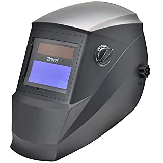 Antra AH6-260-0000 Solar Power Auto Darkening Welding Helmet with AntFi260 Wide Shade Range 4/5-9/9-13 with Grinding Feature Extra lens covers Good for Arc Tig Mig Plasma CE Certified By DIN
