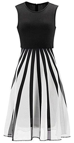 jeansian Damen Sleeveless Gauze Pleated Swing A Line Pleated Madi Skirts Evening Party Dress WHS205 Black