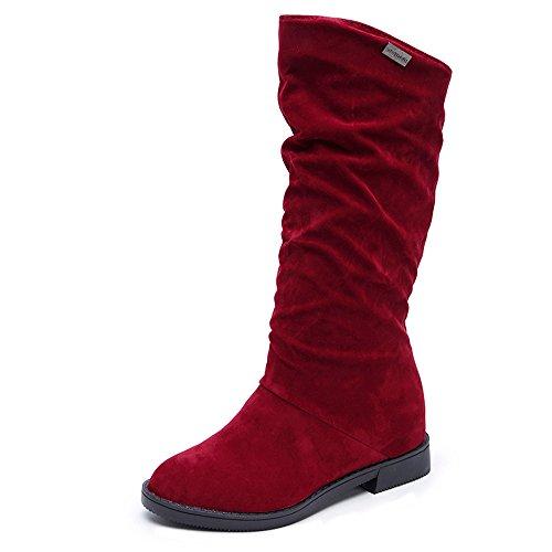 YWLINK Mode Herbst Winterstiefel Volltonfarbe Mittlere Stiefel Damen Süß Boot Stilvolle Flache Schneestiefel Flache Schuhe(39 EU,Rot)