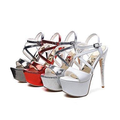 LFNLYX donna tacchi Primavera Estate Autunno Comfort cinturino alla caviglia PU abito da sposa Party & Sera Stiletto Heel fibbia Nero Rosso Bianco Argento a piedi White