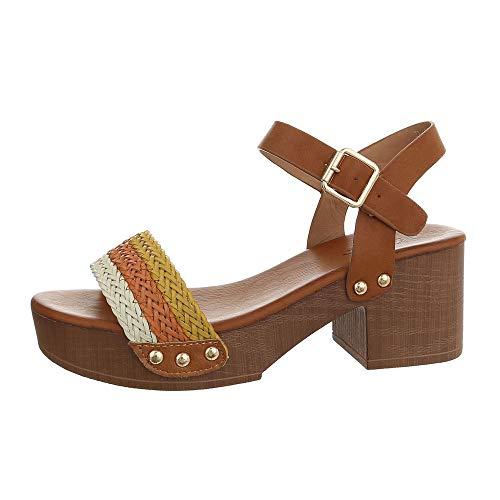 Ital-Design Damenschuhe Sandalen & Sandaletten High Heel Sandaletten Synthetik Braun Weiß Gr. 37
