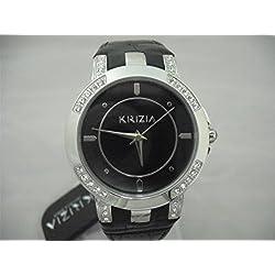 Krizia Damen Uhr mit Zifferblatt weiß mit Strass weißen, Boden schwarz mit Armband Leder Schwarz