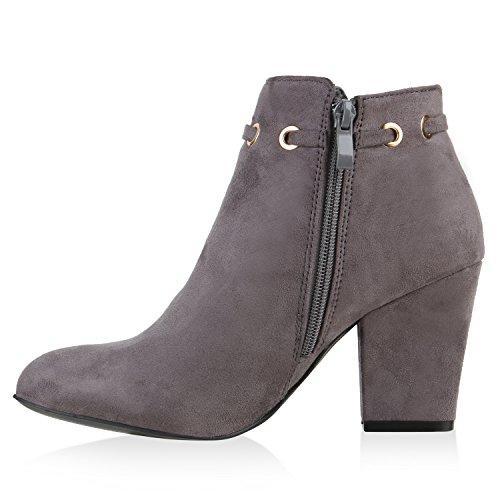 Klassische Damen Stiefeletten Quasten Metallic Block Absatz Grau
