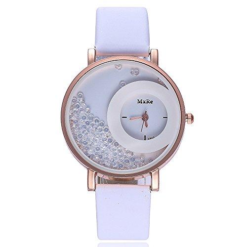 VECOLE Damen Uhren Fashion Einfache Quicksand kleine Diamant Zifferblatt Lederarmband Uhren Geschenk für Frauen Quarz Analoganzeige Uhr(A) - Ebel Uhren Diamanten Damen