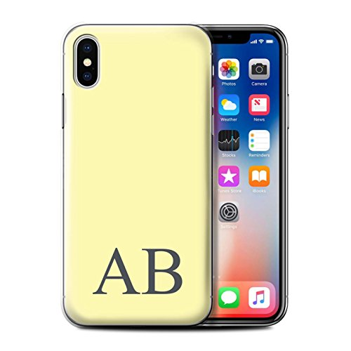Personalisiert Pastell Monogramm Hülle für Apple iPhone X/10 / Grünes Design / Initiale/Name/Text Schutzhülle/Case/Etui Gelbes
