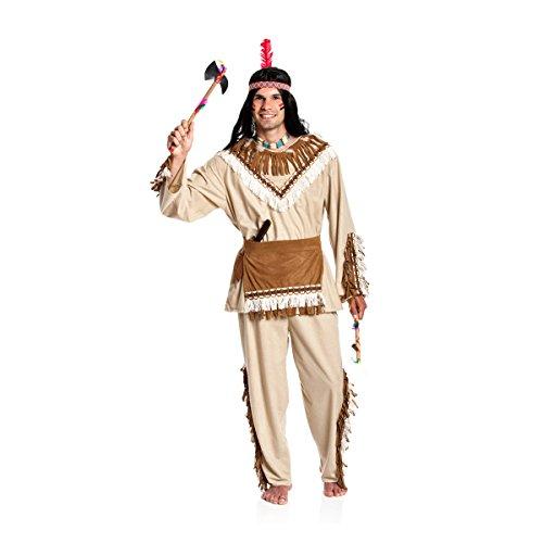 Kostümplanet® Indianer Häuptling Kostüm Indianerkostüm Kostüm Indianer Herren Größe 64/66 (Indianer-kostüm Für Erwachsene)