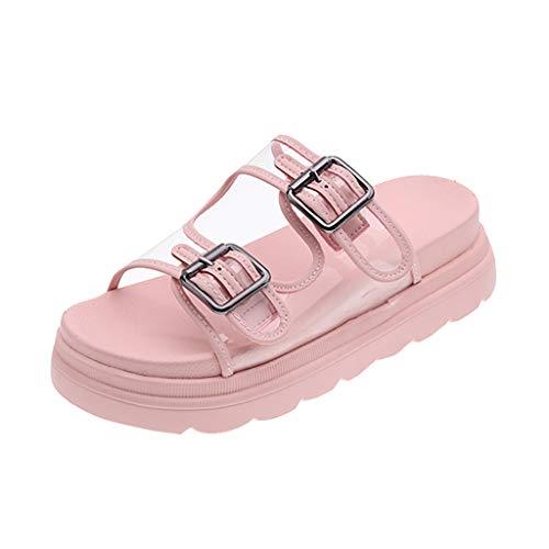 Fannyfuny Schlappen Pantoletten Damen Sandalen Weiche Flache Sandalen Frauen Mode Casual Beach Sandal Badeschuhe Pantoffeln Komfortable Slipper Weiß, pink 35,36,37,38,39,40