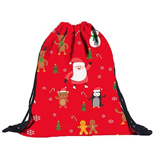 Christmas3D Digital Print Blumenstrauß Tasche Rucksack Kordelzugbeutel A, Malloom Unisex 3D Digitaldruck Draw Pocket Rucksack Drawstring Bag