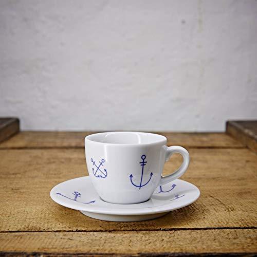 Espresso Tasse/Untertasse maritimes Design Anker - Porzellan blau-weiss von Ahoi Marie