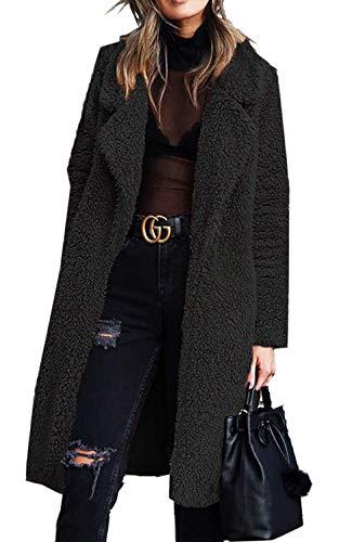 Aceshin Damen Winter Revers Parka schwarz Wollmantel Trenchcoat Mantel Cardigan Plüschjacke Winter Jacke Outwear