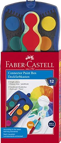 Faber-Castell 125050 - Farbkasten CONNECTOR, 12 Farben inklusive Pinsel, Blau