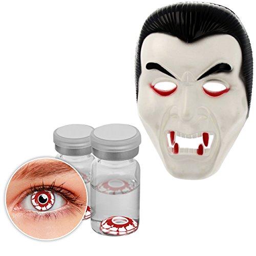 Oramics Horror Dracula Maske – Halloween Kostümidee für Erwachsene – Inklusive Smiffy´s Kontaktlinsen Rot, Kostüm für Männer und Frauen – Maske Vampir