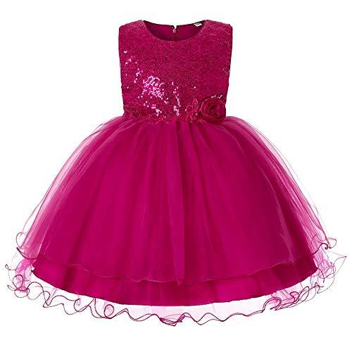 Tonsee Prinzessin Kleider für Kinder Blume Pailletten Partykleid Hochzeit Minikleid Mode Ballkleid Tüll Abendkleid Ärmelloses Festlich Kostüme Weihnachten Kinderkleidung Jeans Kleider Mädchen (Kostüme Für 11-jährige Mädchen)