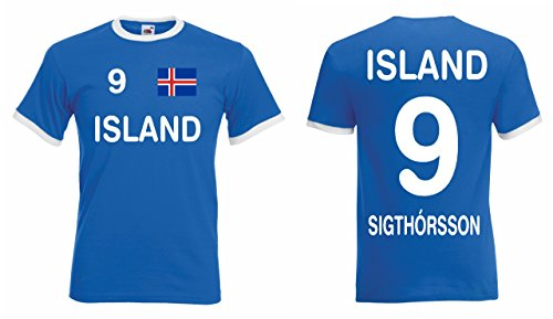 Fruit of the Loom Island EM 2016 Retro Trikot Sigthorsson Fanshirt T-Shirt|blau-L