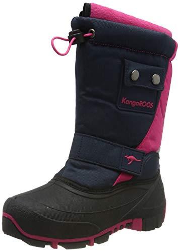 KangaROOS Unisex-Kinder Kanga-Bean II Schneestiefel, Blau (Dk Navy/Daisy Pink 4204), 36 EU