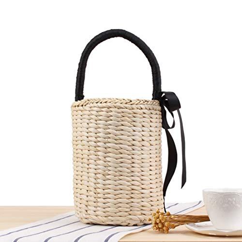 Korb Handtasche Eimer Tasche Sommerurlaub Strandtasche für Frauen (Color : Beige) ()