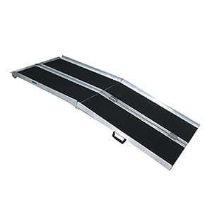WORHAN® 1.53m Rampe Alu Pliable Valise Aluminium Pour Fauteuil Roulant Chargement Scooter Plate-Forme Fonction Antidérapante Elevée NEUF R5J