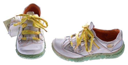 Damen Leder Halb Schuhe Used Look Comfort Sneakers Grau Grün Weiss Rot Turnschuhe TMA Eyes Weiß