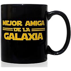 Taza mug desayuno de cerámica negra 32 cl. Modelo Mejor Amiga de la Galaxia