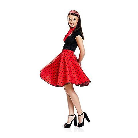 Kostümplanet® Rock-n Roll Rock Kostüm rot schwarz gepunkteter Rock knielang mit passendem Schal Halstuch Tellerrock 50er Jahre Stil Mode Kostüm Rockabilly Damen Outfit Polka