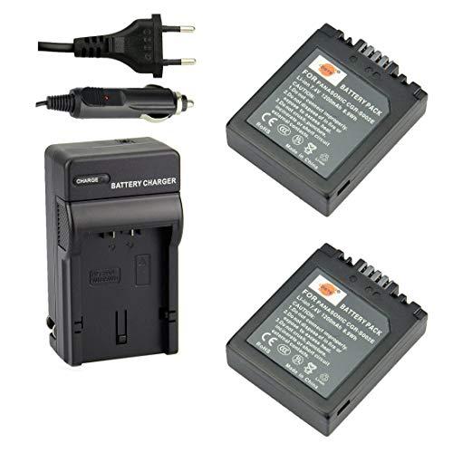 DSTE 2-pack Rechange Batterie et DC62E Voyage Chargeur pour Panasonic S002E Lumix DMC-FZ1 DMC-FZ2 DMC-FZ3 DMC-FZ4 DMC-FZ5 DMC-FZ10 DMC-FZ15 DMC-FZ20 como Panasonic CGA-S002 CGA-S002A