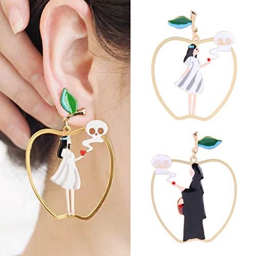 (Halloween Asymmetrische Anhänger Ohrringe Schneewittchen Prinzessin und Hexe Apple Styling Ohrringe Weibliche Persönlichkeit Kreative Party Ohrringe Schmuck)
