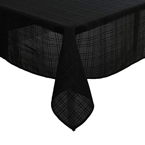Deconovo Tischwäsche Wasserabweisend Leinenoptik Tischdecke 137x200 cm Schwarz (Leinen-schwarz Tischdecke)