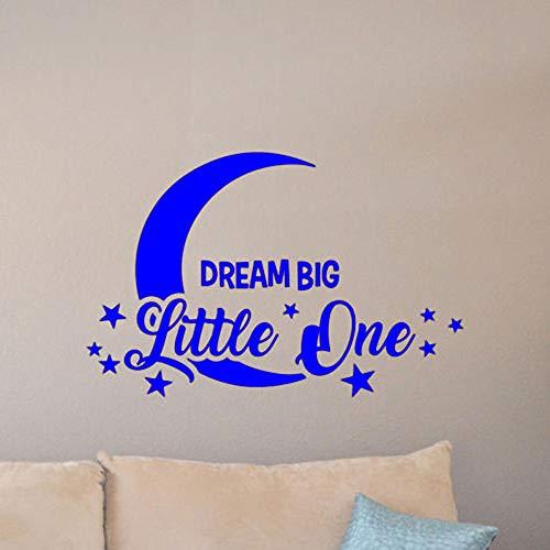 yaoxingfu Nursery Decor Adesivi d'Arte in Vinile Motivazione Citazione Sogno Big Little One Adesivo murale Luna e Stelle Adesivo murale per camerette WW-3 107x74cm