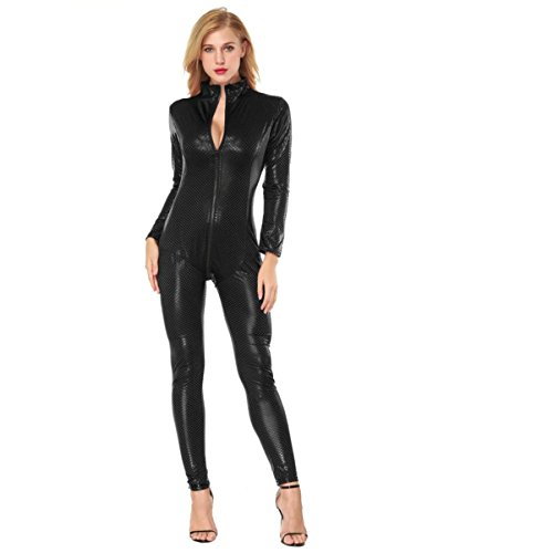 Clubwear Costume BURFLY Womens Jumpsuit Seductive Siamese Lingerie Artificial Leather Open Crotch Bodysuit Siamese Bodycon Clubwear (M, Schwarz) (Mesh Teddy Womens)