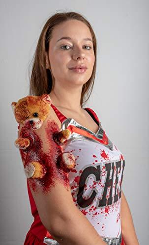 (Horror Teddy von King of Halloween.de-Der Zombie Teddy der sich durch die Haut friesst-Spezial FX-Set-Latex Applikation-Zombie-Puppe-Geistermädchen- Alice im Wunderland-Wunde-Schminke-Make up-Krustenblut-Wundschorf-Kunstblut)