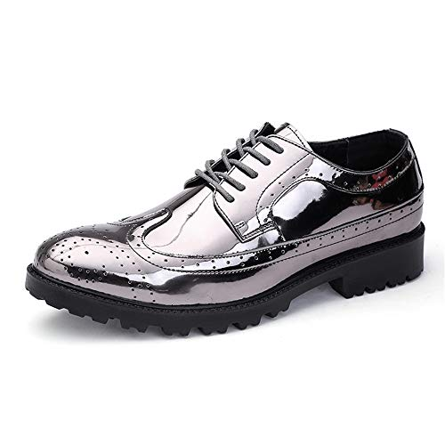 Vamp Kleid (TONGDAUR Herren Modische Shiney PU Leder Vamp Lace Up Atmungsaktive Schuhe Kleid Schuhe Lederschuhe für Herren (Color : Silver, Größe : 45 EU))
