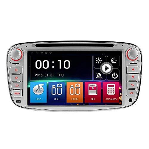 IAUCH GPS-Navigationssystem, 17,8 cm (7 Zoll) DVD, GPS, Navigationsgerät für Ford Focus Mondeo Galaxy C-Max S-Max Kuga Radio Player, Bluetooth USB SD Spiegel Link Lenkradsteuerung mit 16 GB Karte
