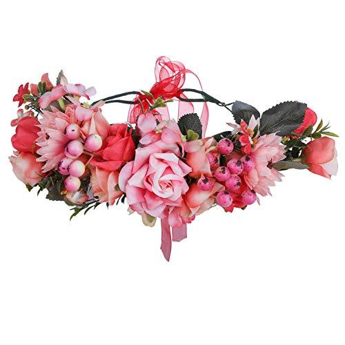 AWAYTR Boho Blumenkrone Stirnband Festival Kopfschmuck - Handgefertigt Blume Haarkranz mit Band Beere Blumenstirnband für Frauen und Mädchen Kleid (Wassermelone rot + hellrosa) (Rotes Kleid Gala)