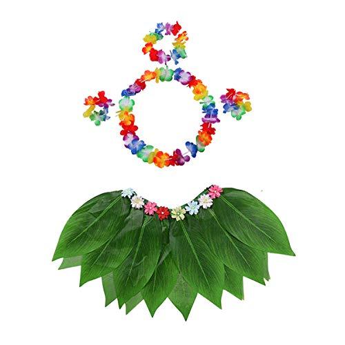 Hawaiian Kostüm Für Jungen - Schwan 2013, S.L. Set Rock, Kopfband und Armbänder für Hawaiian-Kostüm Blätter für Mädchen oder Jungen Hula Hula Dance Kostüm, ab 2 Jahren Hawaiian