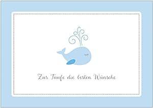 Glückwunschkarte Zur Taufe Zur Taufe Die Besten Wünsche Klappgrußkartetaufkarte Für Einen Jungen In Blau Mit Einem Fisch Wal Mit Umschlag 1