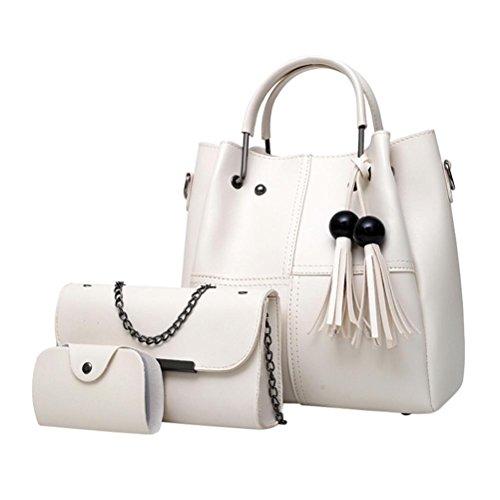 YOUBan Damen Handtasche 3Pcs Mode Ledertasche Quaste Tasche Schultertasche Mädchen Umhängetasche Karten Tasche für Frauen