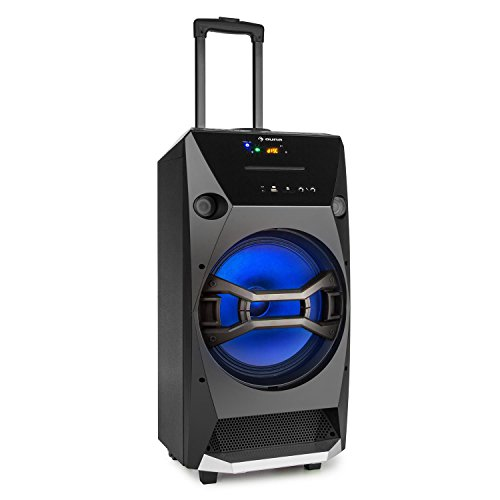 "auna Brooklyn Beat • mobile PA Anlage • 2-Wege-PA-Lautsprecher Audiosystem • Party Box • 100 Watt RMS • 12""-Tieftöner • LED-Effektbeleuchtung • Bluetooth • USB-Port • UKW Radio • 2 Mikrofon-Eingänge • AUX • Akku • Bodenrollen • Trolley-Griff • schwarz"