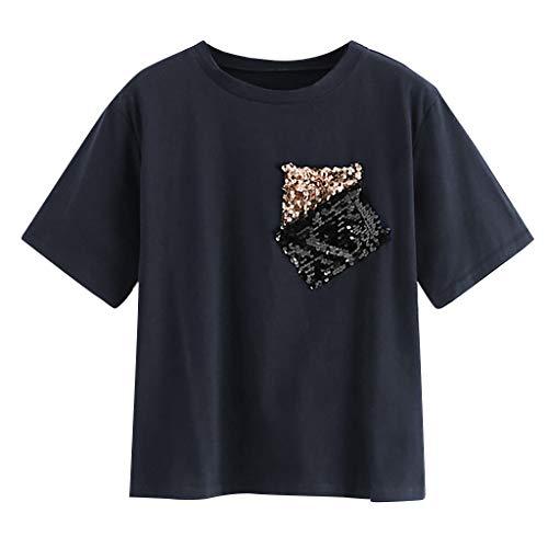LEXUPE KurzäRmliges T-Shirt Mit Rundhalsausschnitt Und Paillettenbesatz Mode Womens Casual Oansatz Pailletten Tasche Kurzarm T Tops T-Shirt Bluse