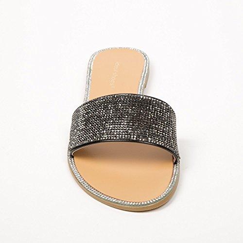 Ideal Shoes–Sandali Piatte A strass Miala Nero