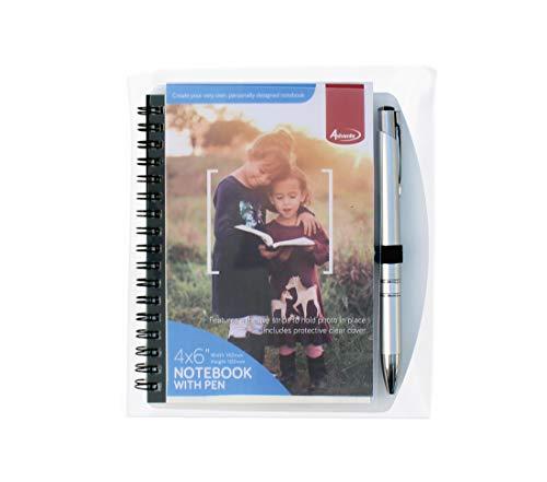 Adventa ANBP46 - Cuaderno y bolígrafo Personalizables (4 x 6 cm), Color Crema