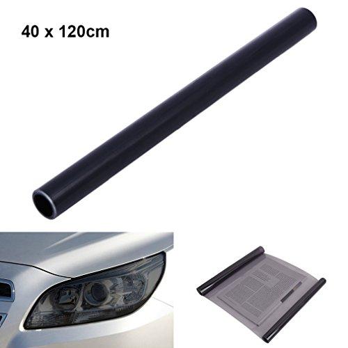 QEUhang 2 PCS Scheinwerfer Folie Tönungsfolie Aufkleber für Auto Scheinwerfer Rückleuchten Blinker Nebelscheinwerfer (120X40cm Hellschwarz)