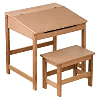 KIDS CHILDRENS WOODEN DESK AND CHAIR SCHOOL STUDY RETRO LIFTING TOP CHILD SET IN Natural