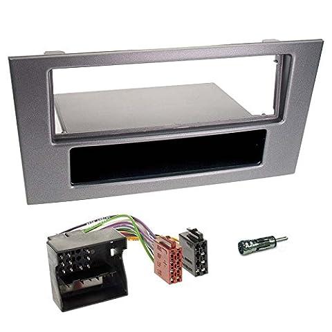 Ford Mondeo 03-07 1-DIN Autoradio Einbauset in original Plug&Play Qualität mit Antennenadapter, Radioanschlusskabel, Zubehör und Radioblende/Einbaurahmen