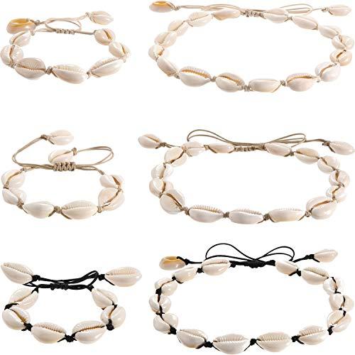 6 Stücke Natürliche Strand Shell Choker Halskette Hawaiianischen Stil Einstellbare Dame Halskette Armband Hawaiian Schmuck