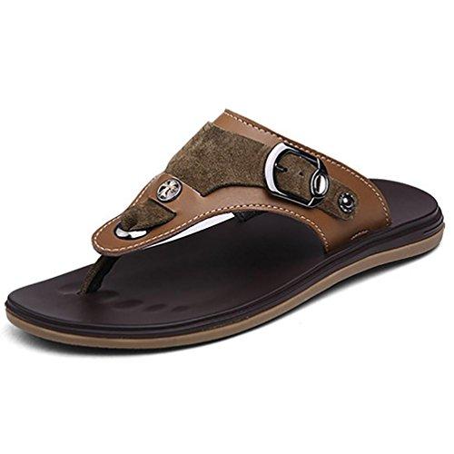 SHANGXIAN Herren Flip-Flops Sommer Strand tragen Casual Ledersandalen Brown